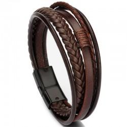 Браслет кожаный многослойный с магнитным замком коричневый Black Твой Браслет LTH366