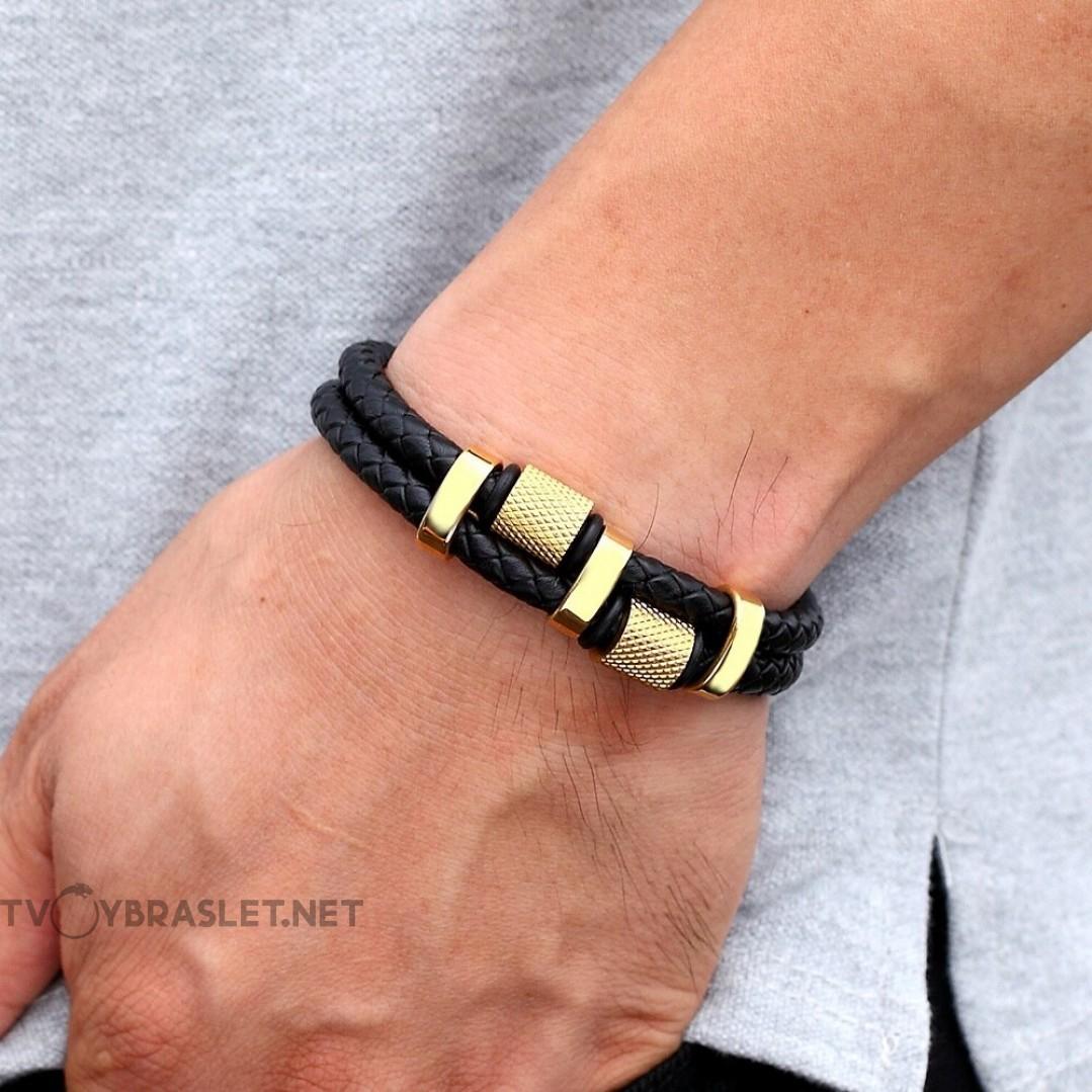 Браслет кожаный мужской черный с магнитным замком Gold Твой Браслет LTH368