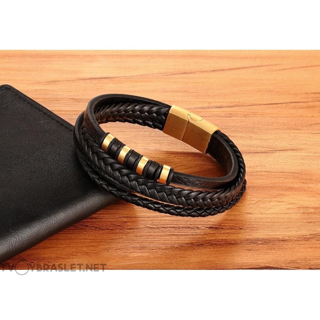 Браслет кожаный мужской многослойный черный Gold Твой Браслет LTH369