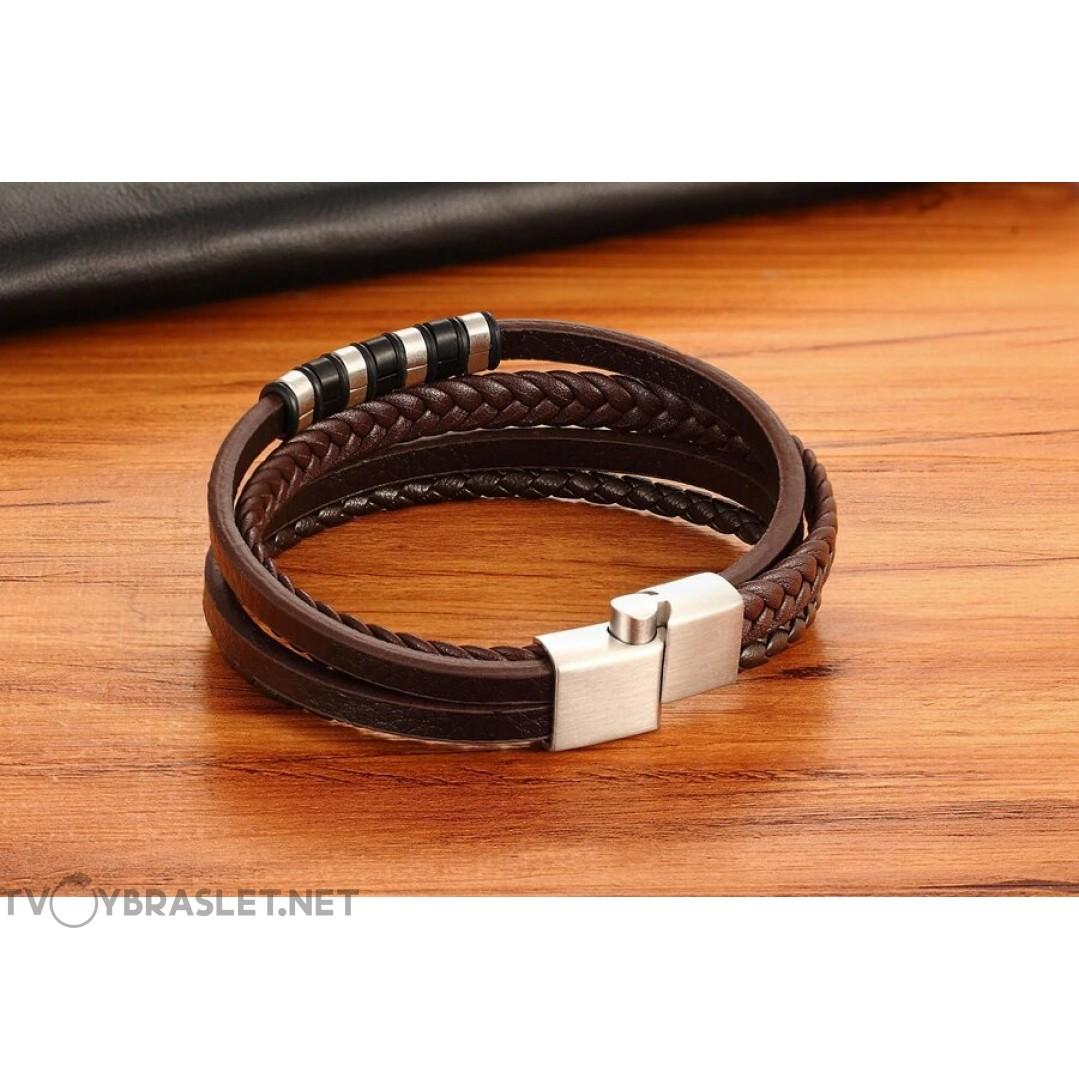 Браслет кожаный мужской многослойный коричневый Silver Твой Браслет LTH370