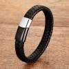 Браслет мужской кожаный с двухцветным магнитным стальным замком Black Silver Твой Браслет LTH371