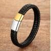 Браслет мужской кожаный с двухцветным магнитным стальным замком Silver Gold Твой Браслет LTH372