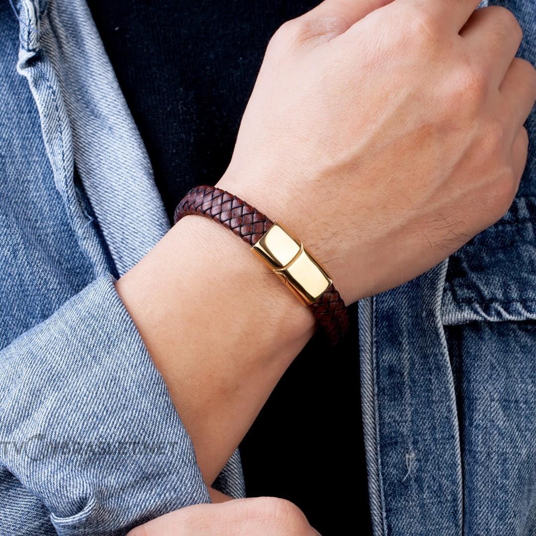 Браслет мужской кожаный коричневый винтаж Gold Твой Браслет LTH373