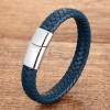 Браслет мужской кожаный магнитный замой синий Silver Твой Браслет LTH374