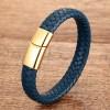 Браслет мужской кожаный синий магнитный замок Gold Твой Браслет LTH375