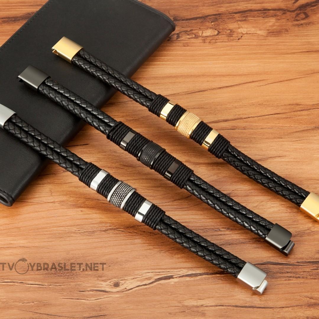 Браслет кожаный в два слоя с веревочным плетением черный Black Твой Браслет LTH376