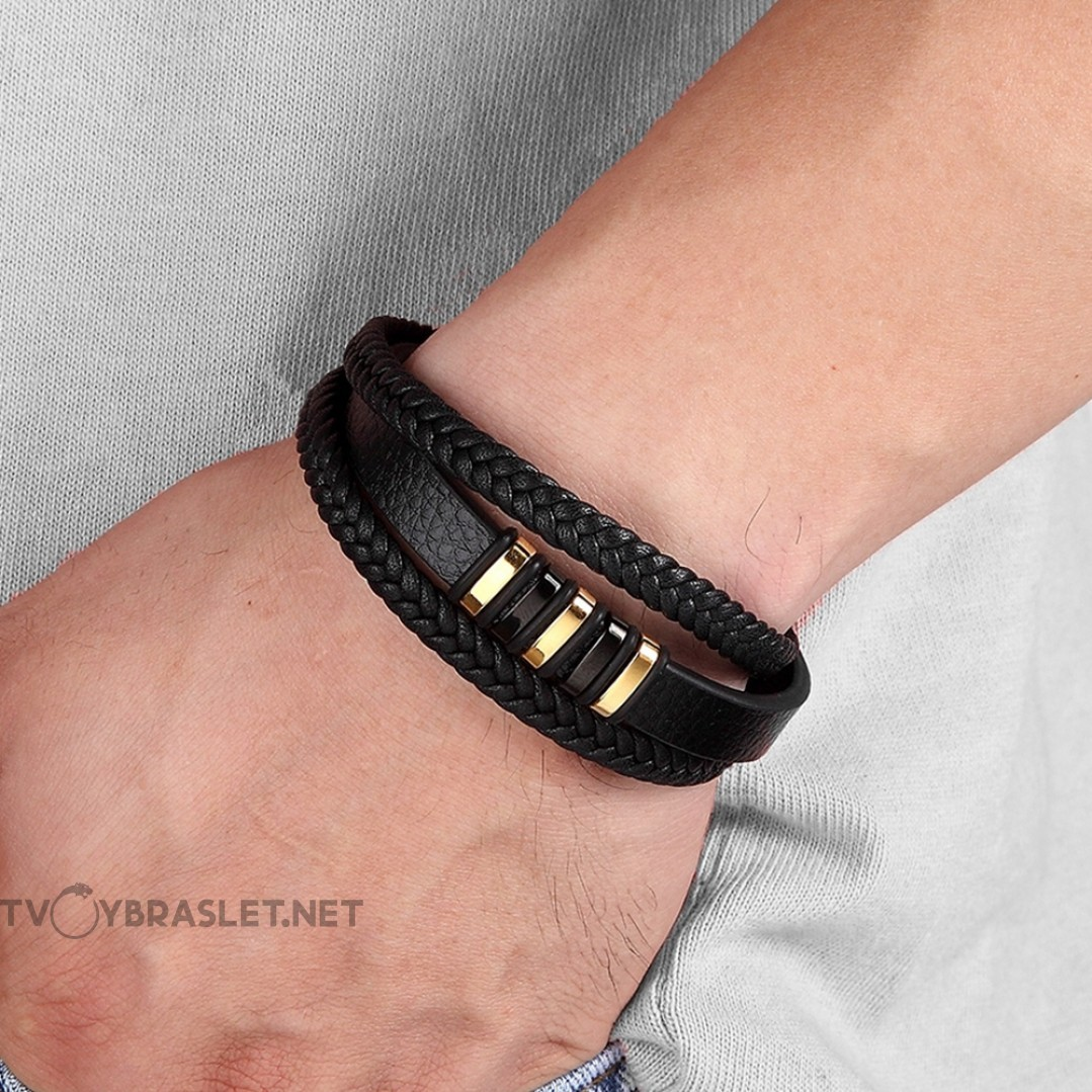 Браслет мужской кожаный многослойный Black Gold Твой Браслет LTH377