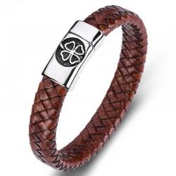 Браслет кожаный мужской Клевер сталь магнитный замок коричневый винтаж Твой Браслет LTH378