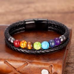Браслет кожаный с натуральными камнями 7 чакр Black Твой Браслет LTH381