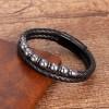 Браслет кожаный мужской с натуральным камнем Гематит Твой Браслет LTH382
