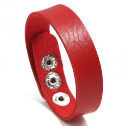 Браслет кожаный женский на кнопках красный Твой Браслет LTH385
