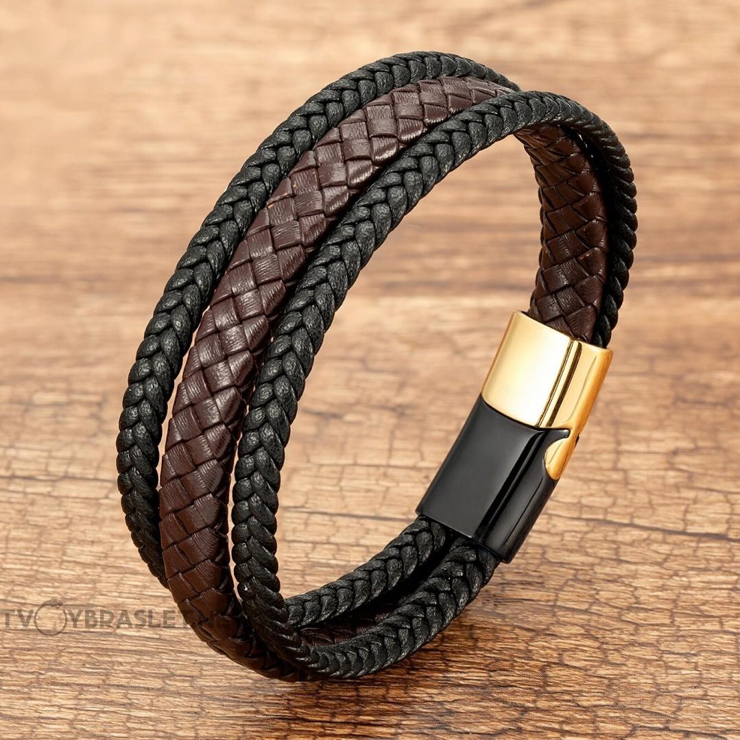 Браслет кожаный мужской в три слоя с магнитным замком черный с коричневым Black Gold Твой Браслет LTH389