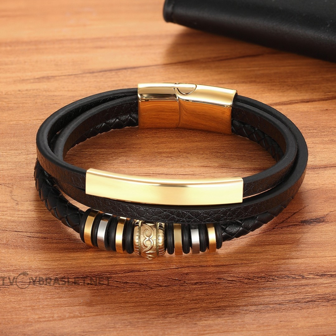 Браслет кожаный мужской многослойный черный Gold Твой Браслет LTH392