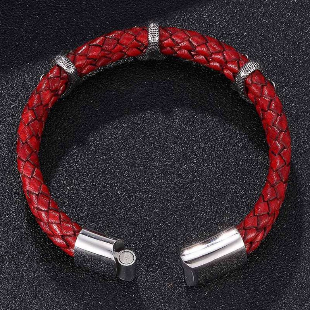 Браслет из кожи с когтями дракона красный Твой Браслет LTH393