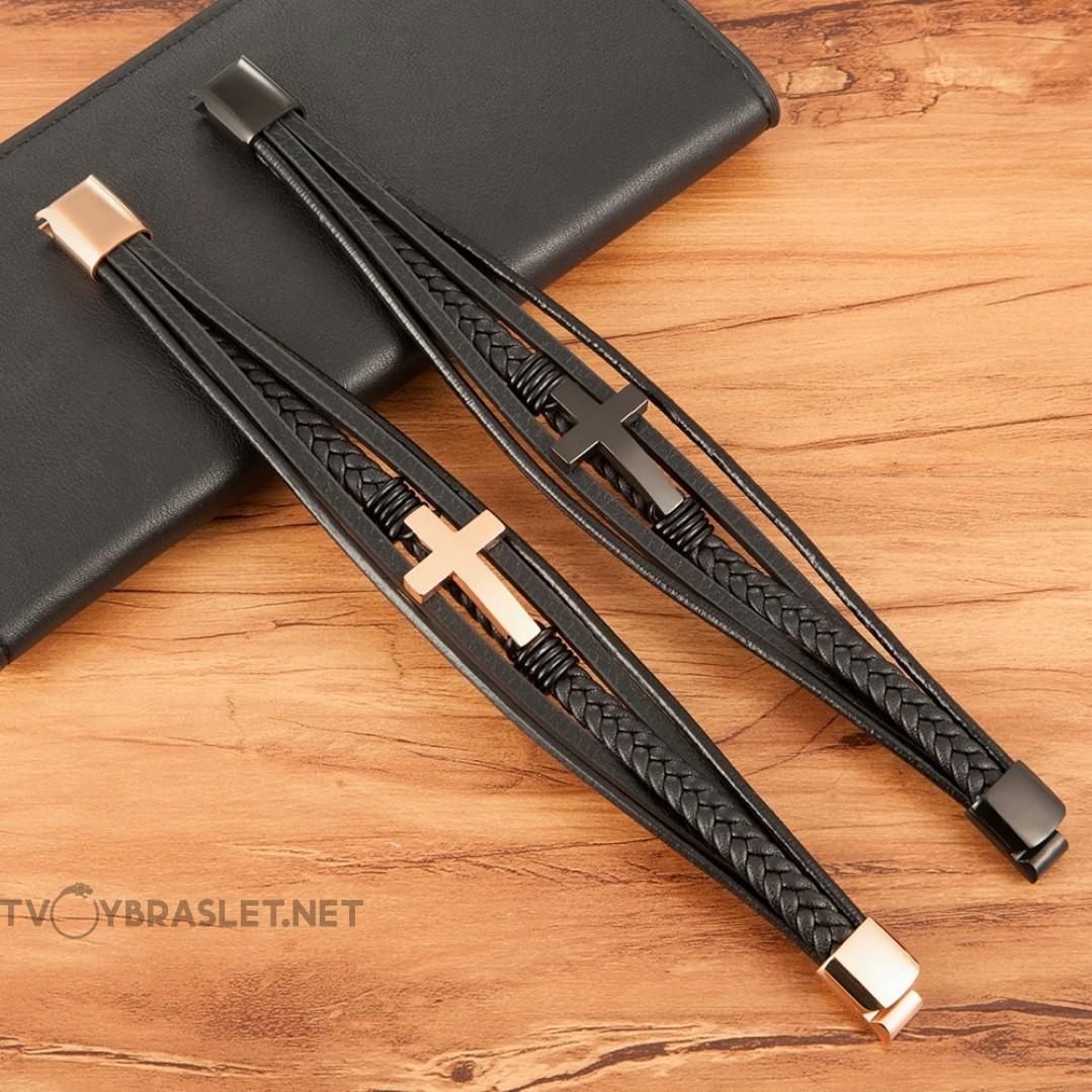 Браслет кожаный с крестом многослойный Black Твой Браслет LTH394