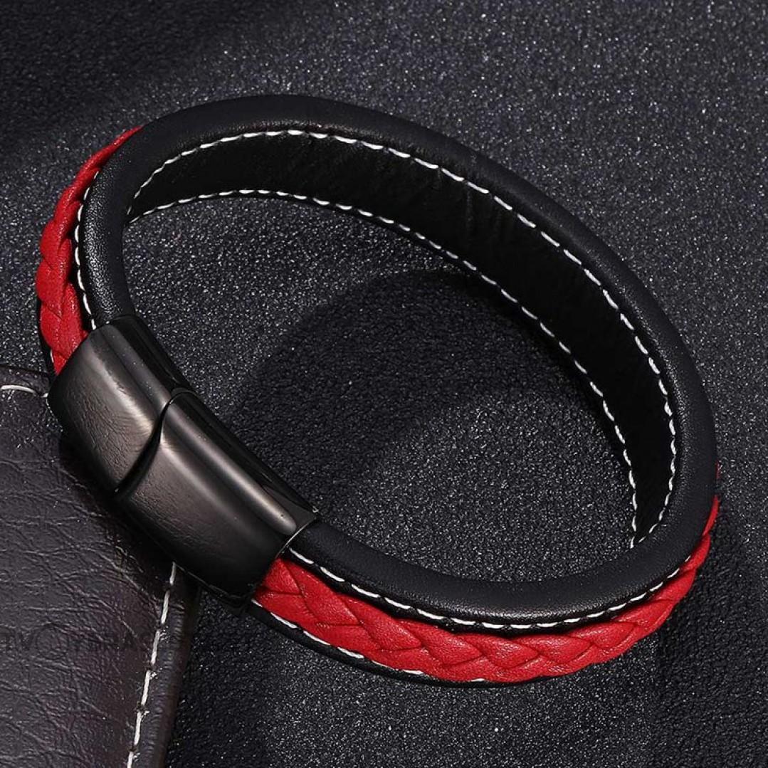 Браслет кожаный мужской черный с красным с белой строчкой Твой Браслет LTH395