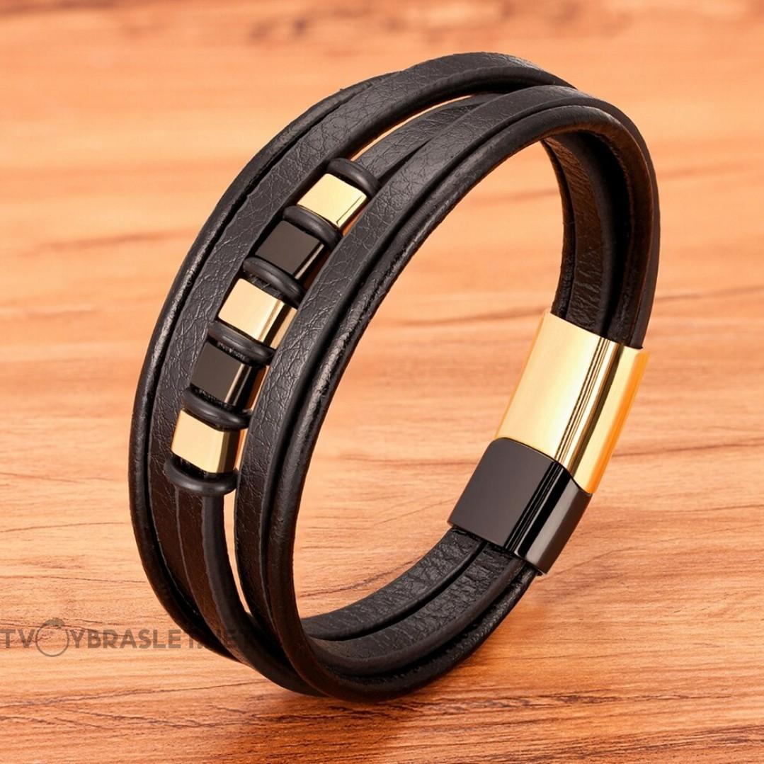 Браслет кожаный мужской многослойный черный Gold Black Твой Браслет LTH396