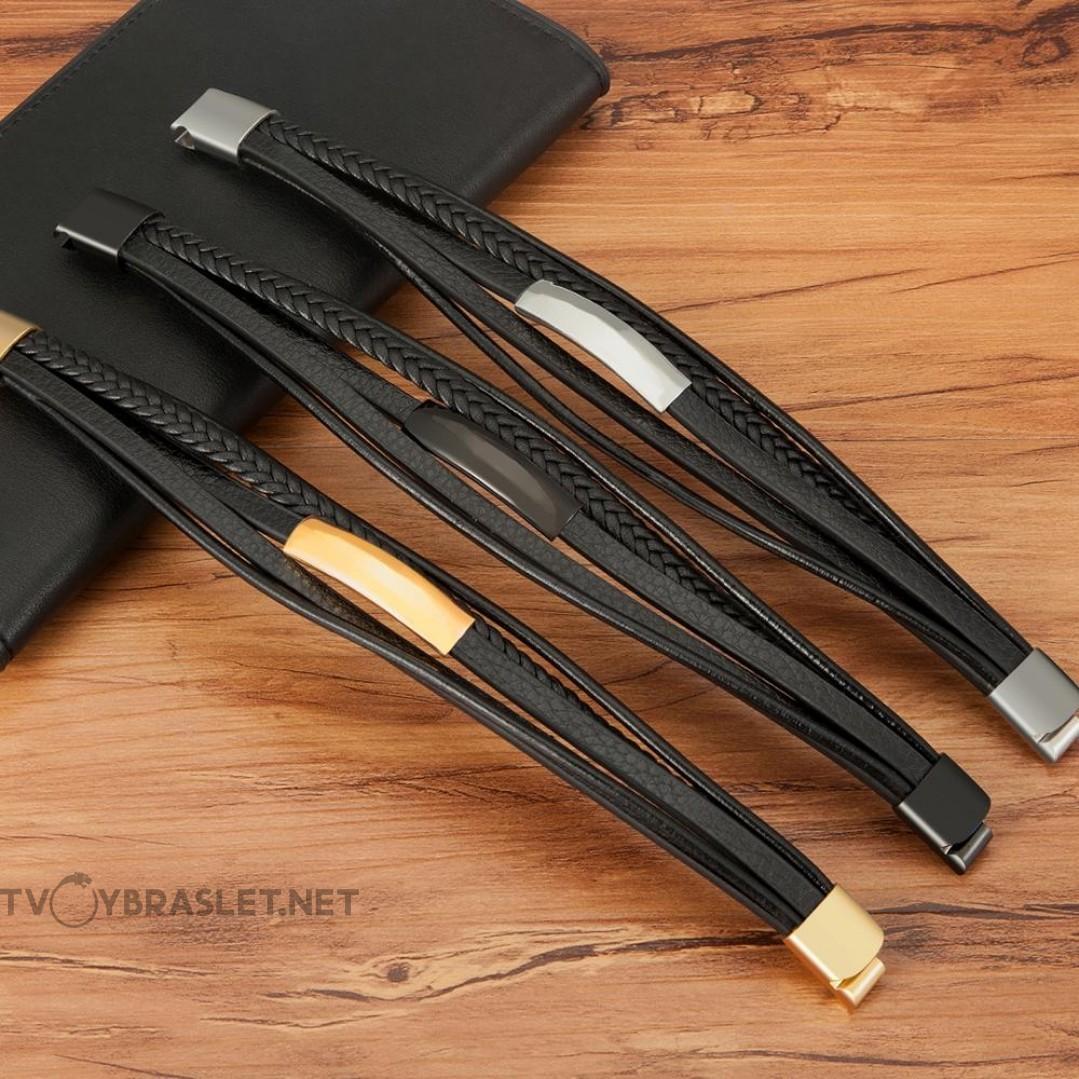 Браслет кожаный мужской многослойный магнитный замок Black Твой Браслет LTH397