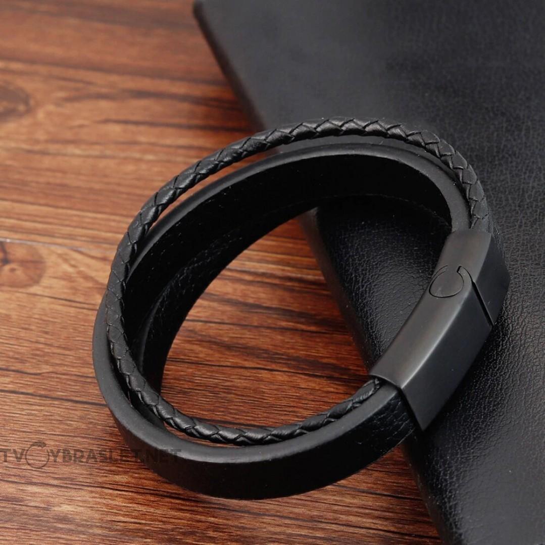 Браслет кожаный мужской многослойный черный Твой Браслет LTH398