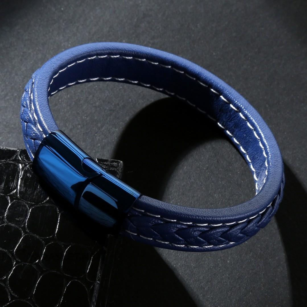 Браслет кожаный мужской синий с белой строчкой Твой Браслет LTH399