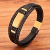 Браслет кожаный многослойный магнитный замок Gold Black Твой Браслет LTH401