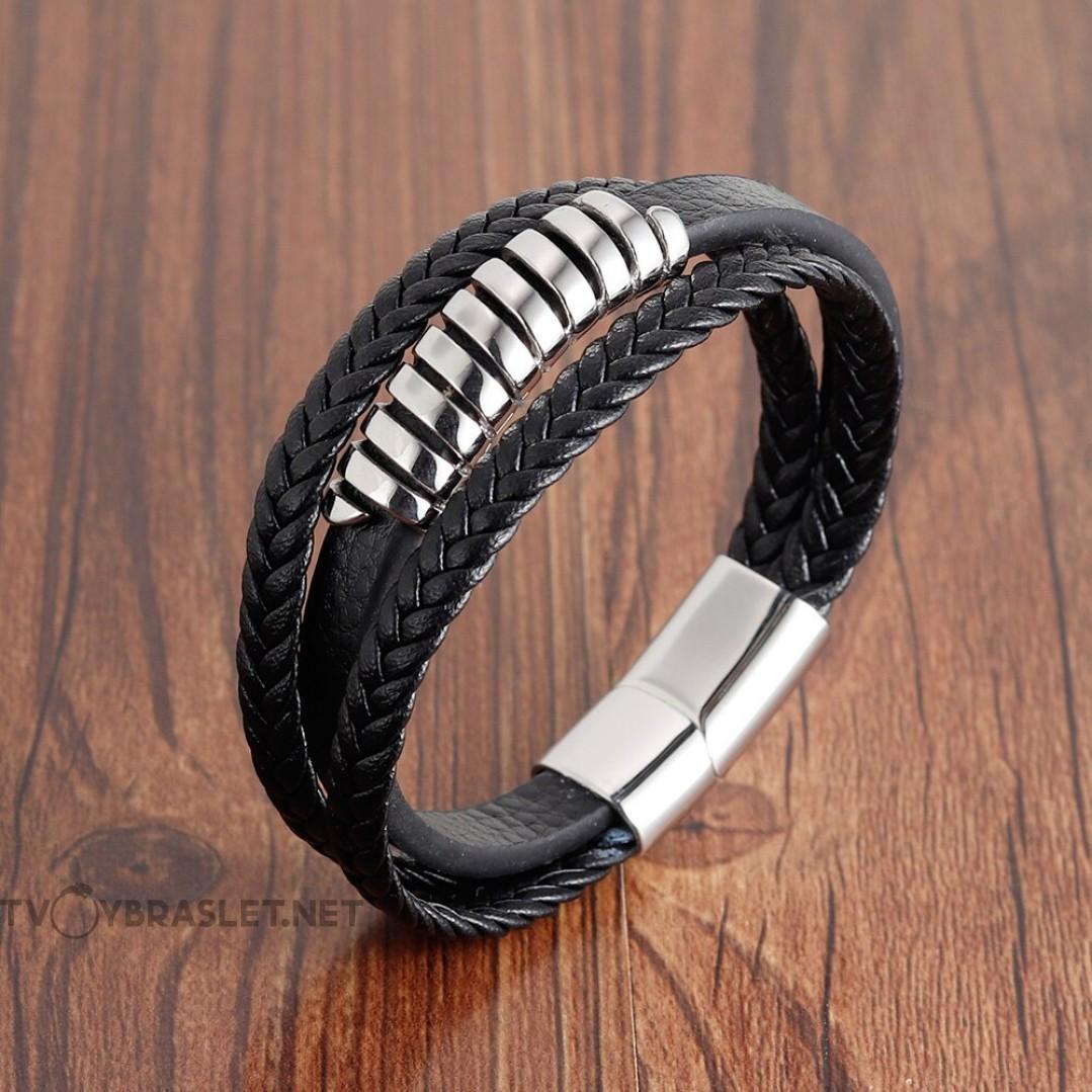Браслет кожаный мужской черный с магнитным замком Твой Браслет LTH405