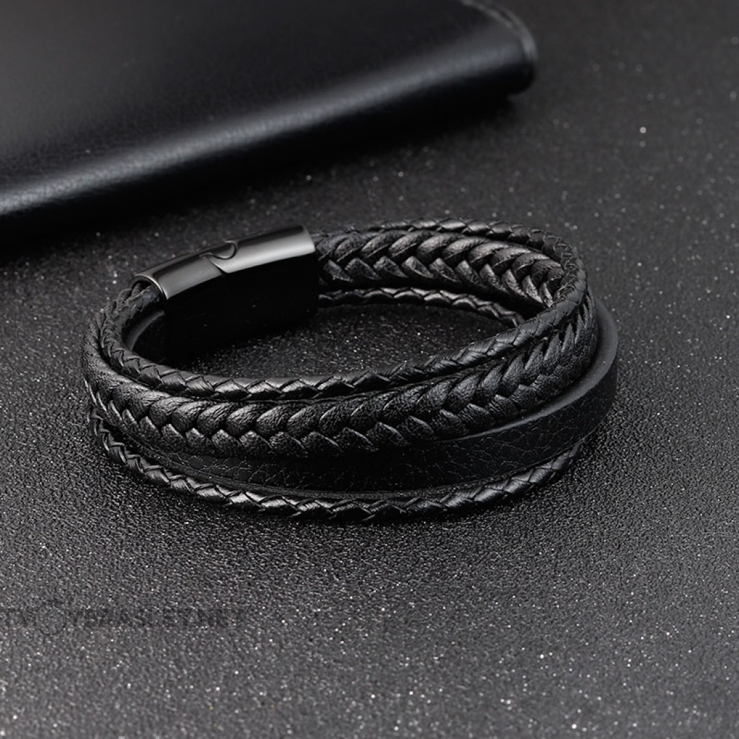 Браслет кожаный мужской черный многослойный с магнитным замком Твой Браслет LTH406