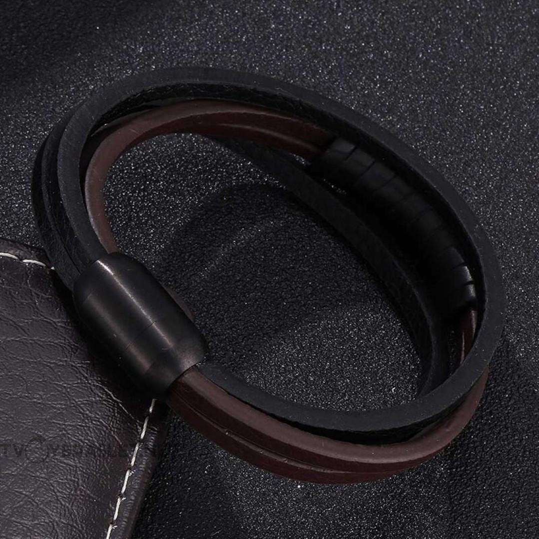 Браслет кожаный мужской черный с коричневым с магнитным замком Твой Браслет LTH407