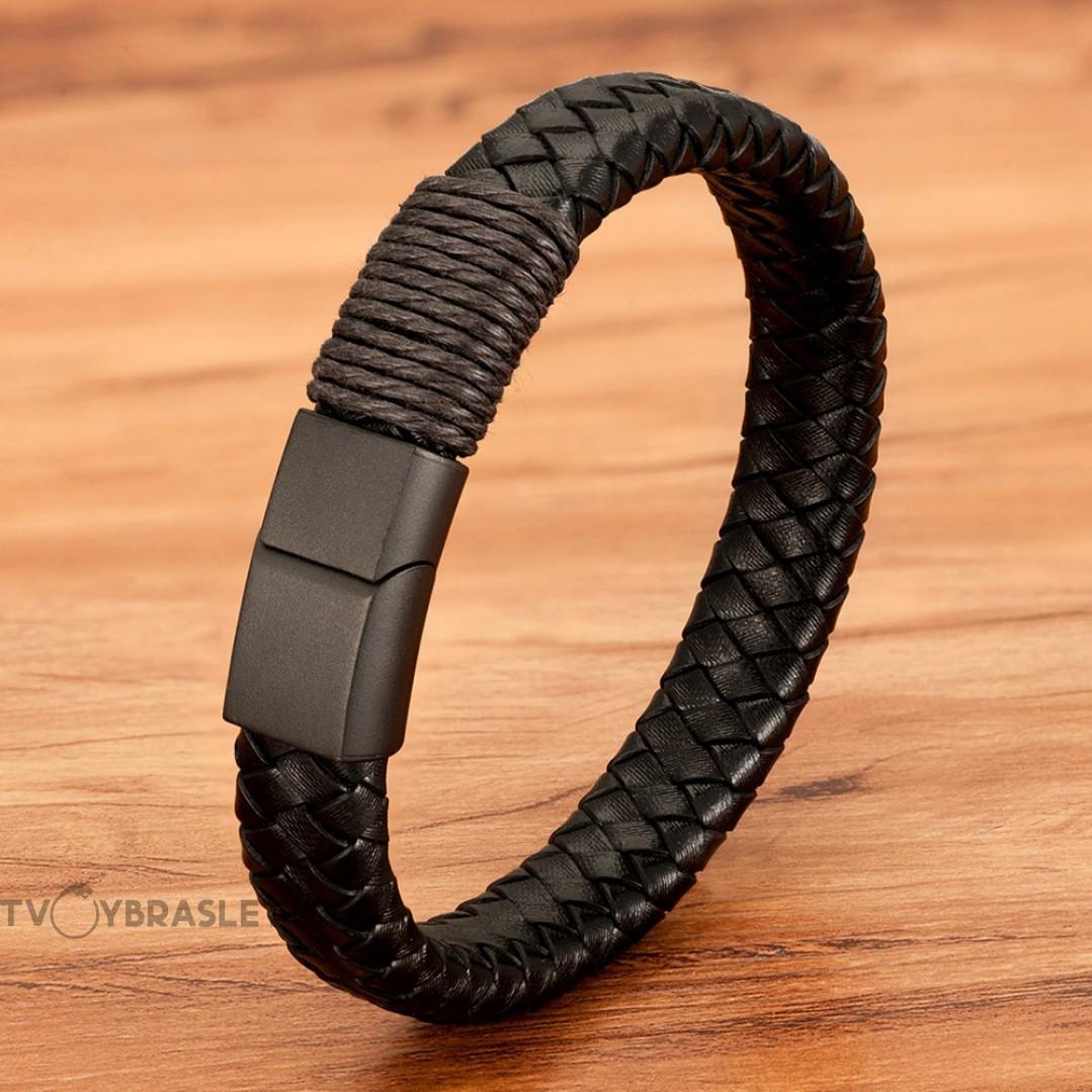 Браслет кожаный черный с темно-коричневой обмоткой магнитный замок Твой Браслет LTH409