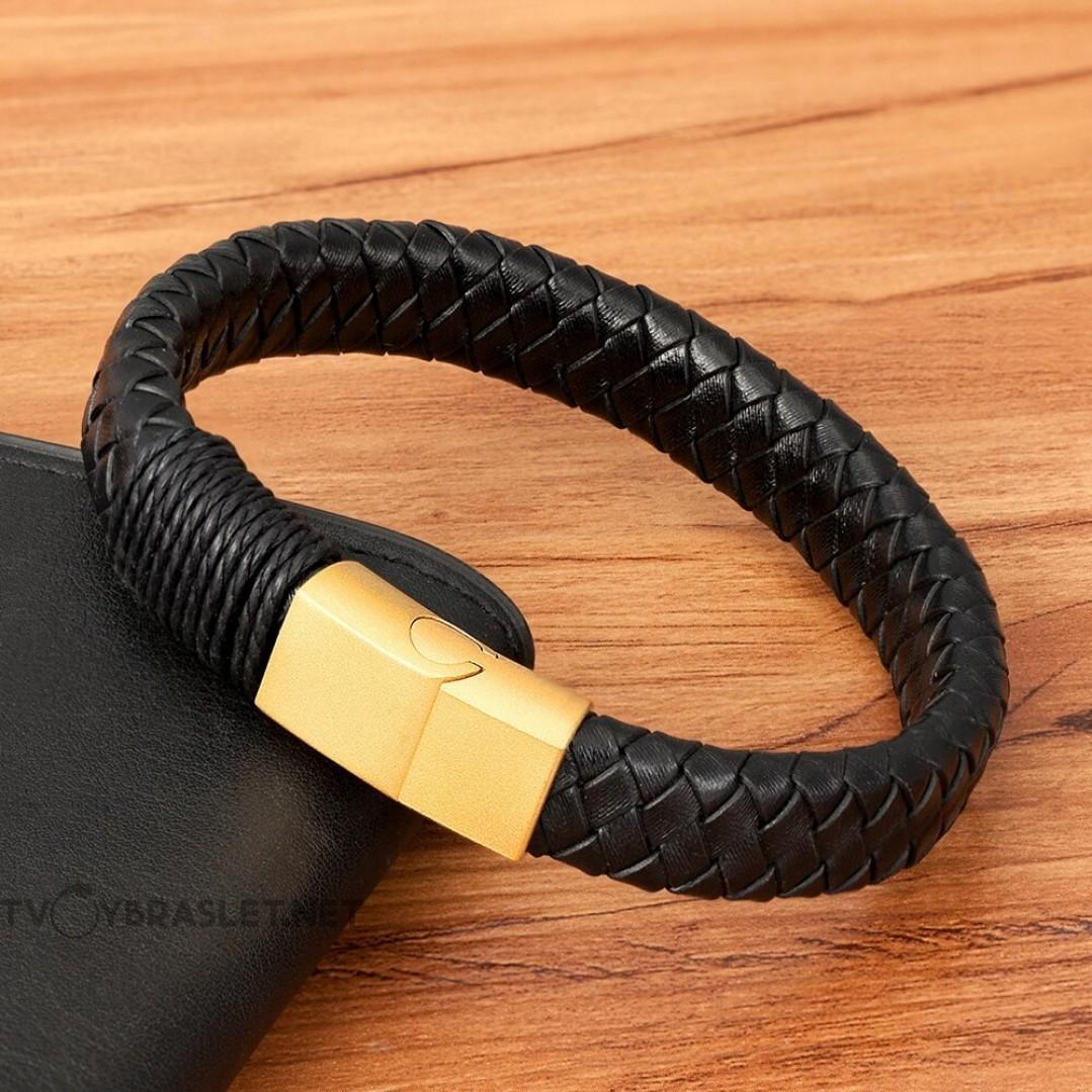 Браслет кожаный черный с обмоткой магнитный замок Gold Твой Браслет LTH410