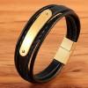 Браслет кожаный мужской с пластиной магнитный замок Gold Твой Браслет LTH414