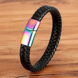 Браслет кожаный черный с магнитным замком Rainbow Твой Браслет LTH418