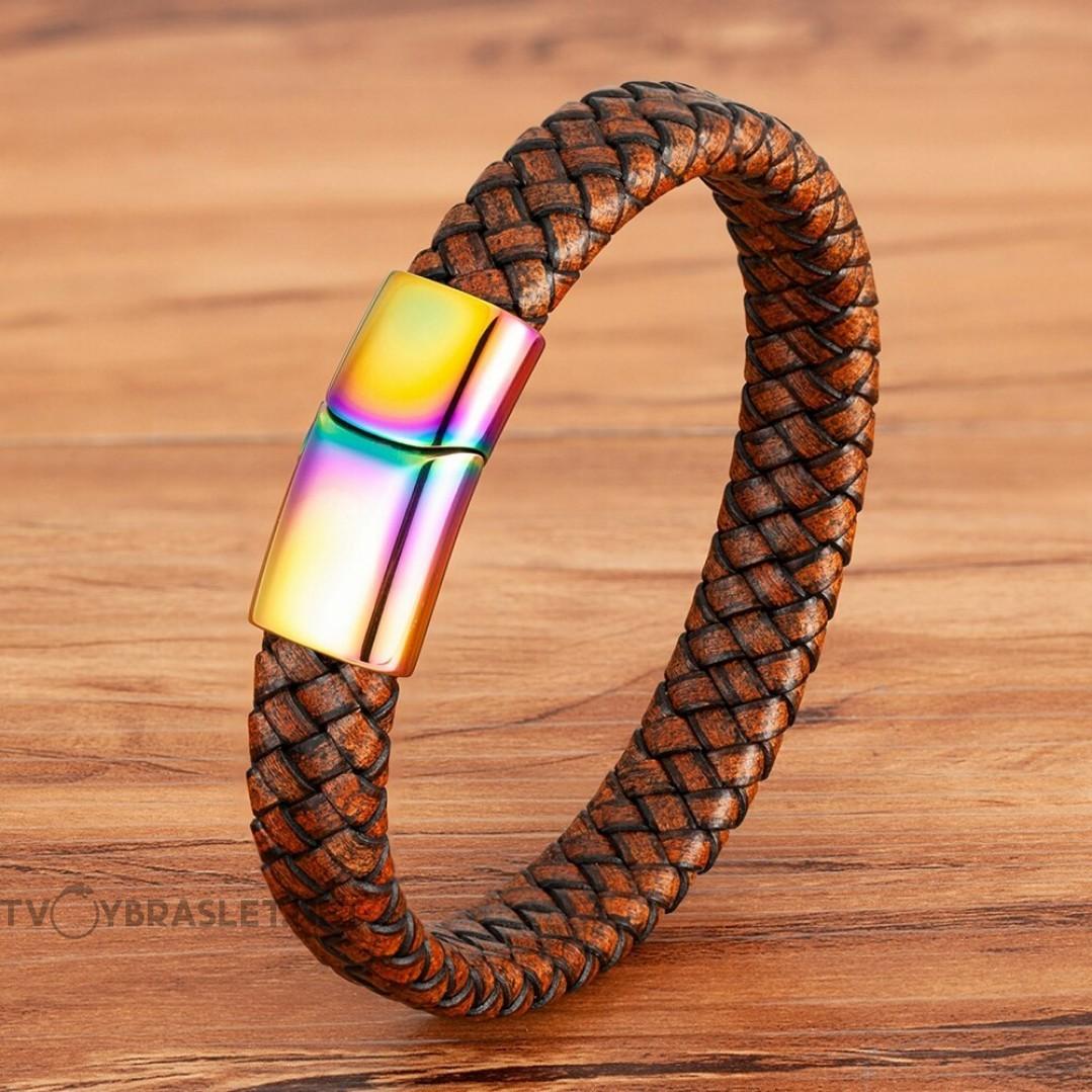 Браслет кожаный коричневый винтаж с магнитным замком Rainbow Твой Браслет LTH419