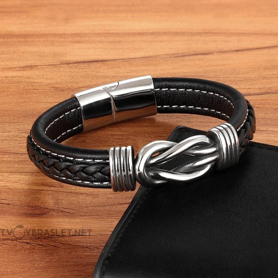 Браслет кожаный мужской черный с белой строчкой магнитный замок Твой Браслет LTH420