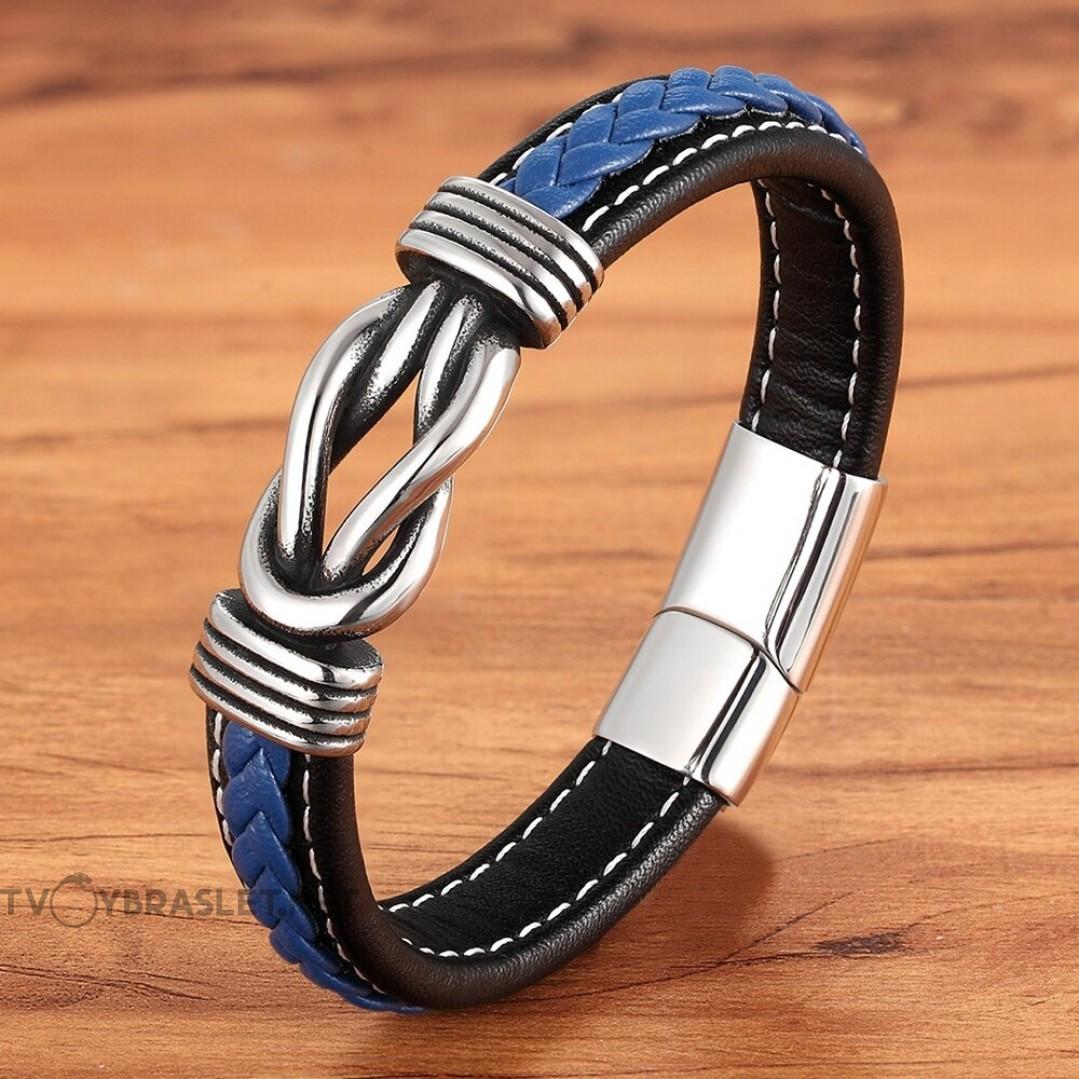 Браслет кожаный мужской черный с синим с белой строчкой магнитный замок Твой Браслет LTH421