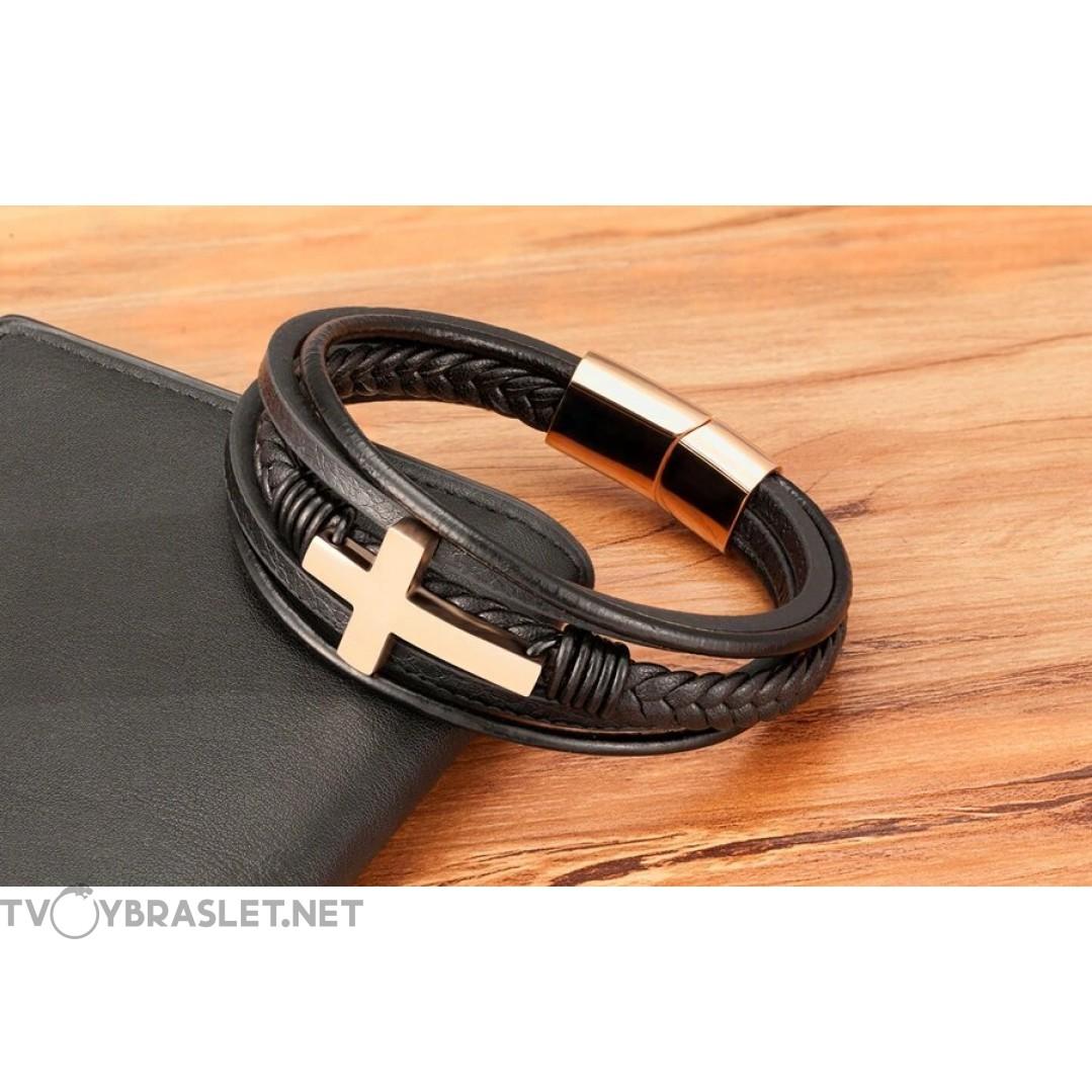 Браслет кожаный с крестом многослойный Rose Gold Твой Браслет LTH424