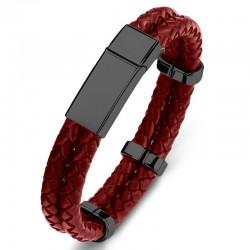 Браслет кожаный двухслойный красный Black Твой Браслет LTH425