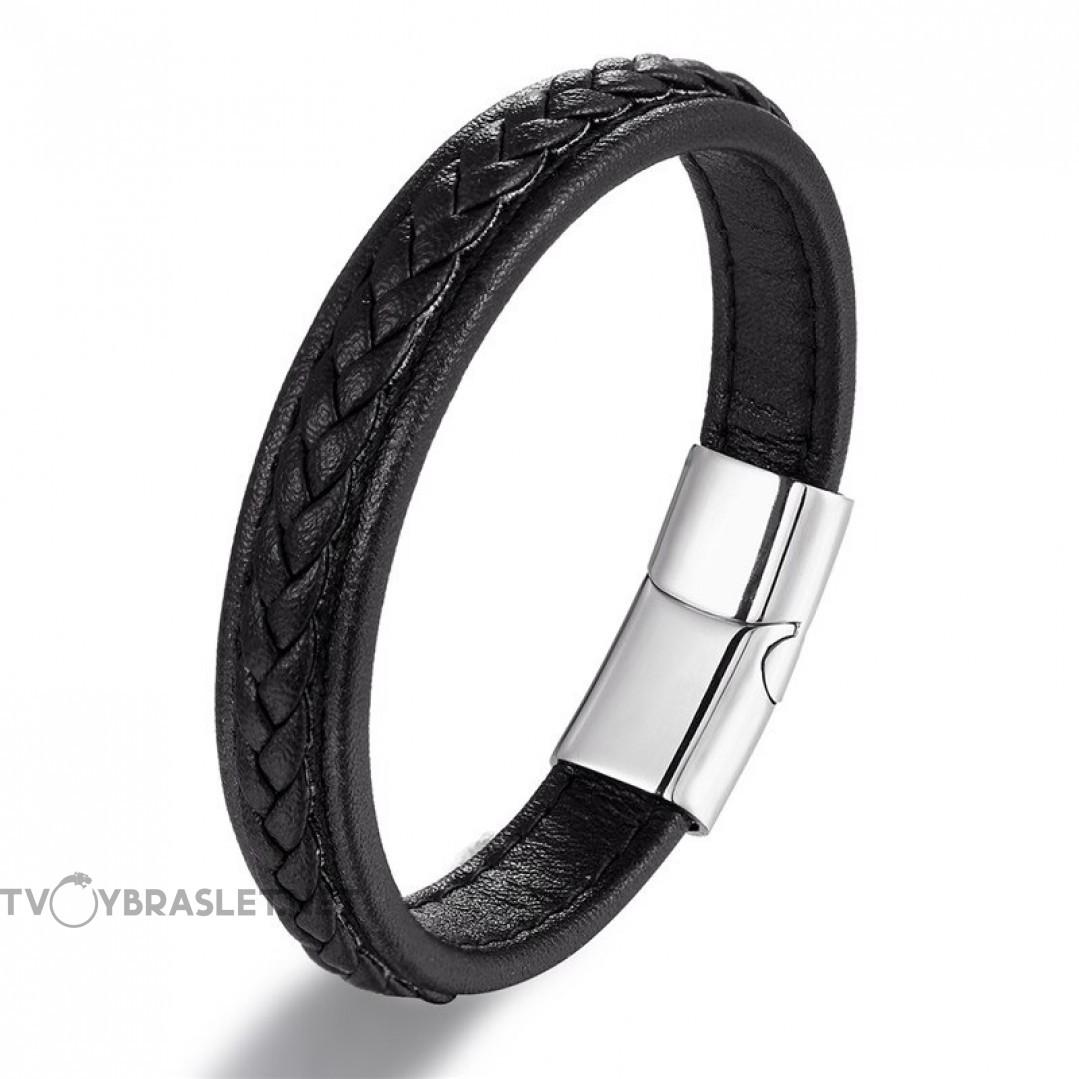 Браслет кожаный мужской черный с черной строчкой Silver Твой Браслет LTH427