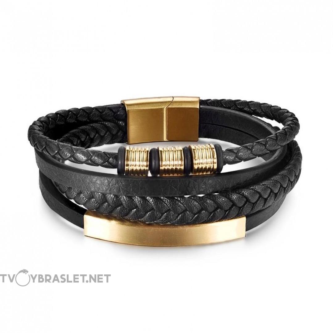 Браслет мужской кожаный в 4 слоя с магнитным замком Gold Твой Браслет LTH429