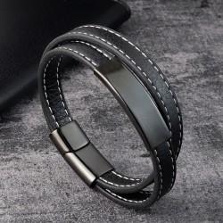 Браслет кожаный мужской в два слоя черный с белой строчкой Твой Браслет LTH430