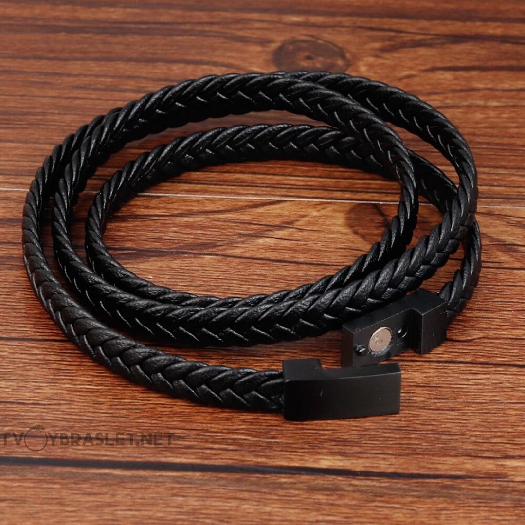 Браслет кожаный мужской черный в три оборота магнитный замок Твой Браслет LTH431
