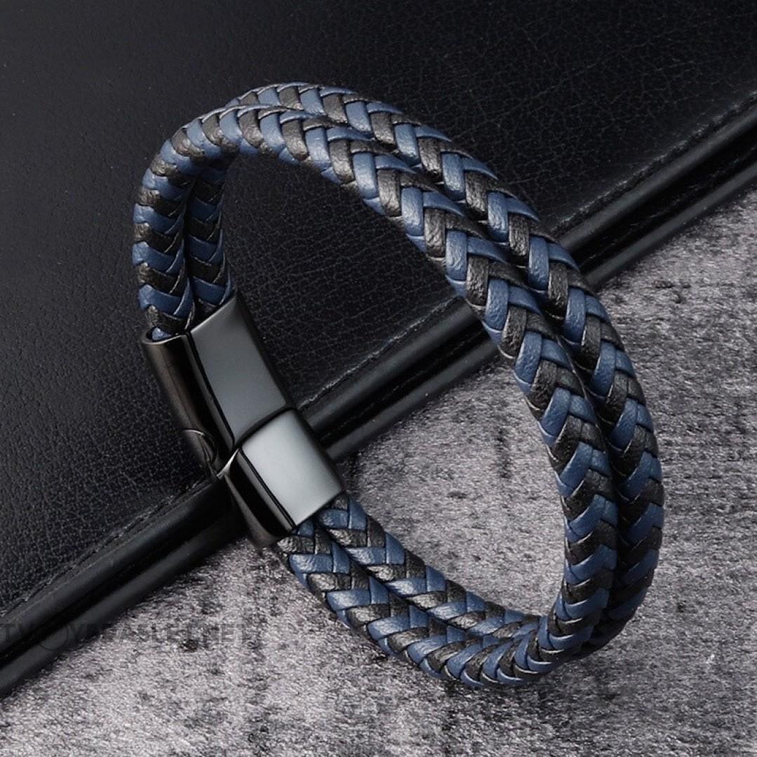 Браслет кожаный двухслойный синий с черным Твой Браслет LTH432