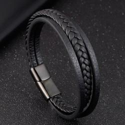 Браслет кожаный мужской многослойный черный Твой Браслет LTH433