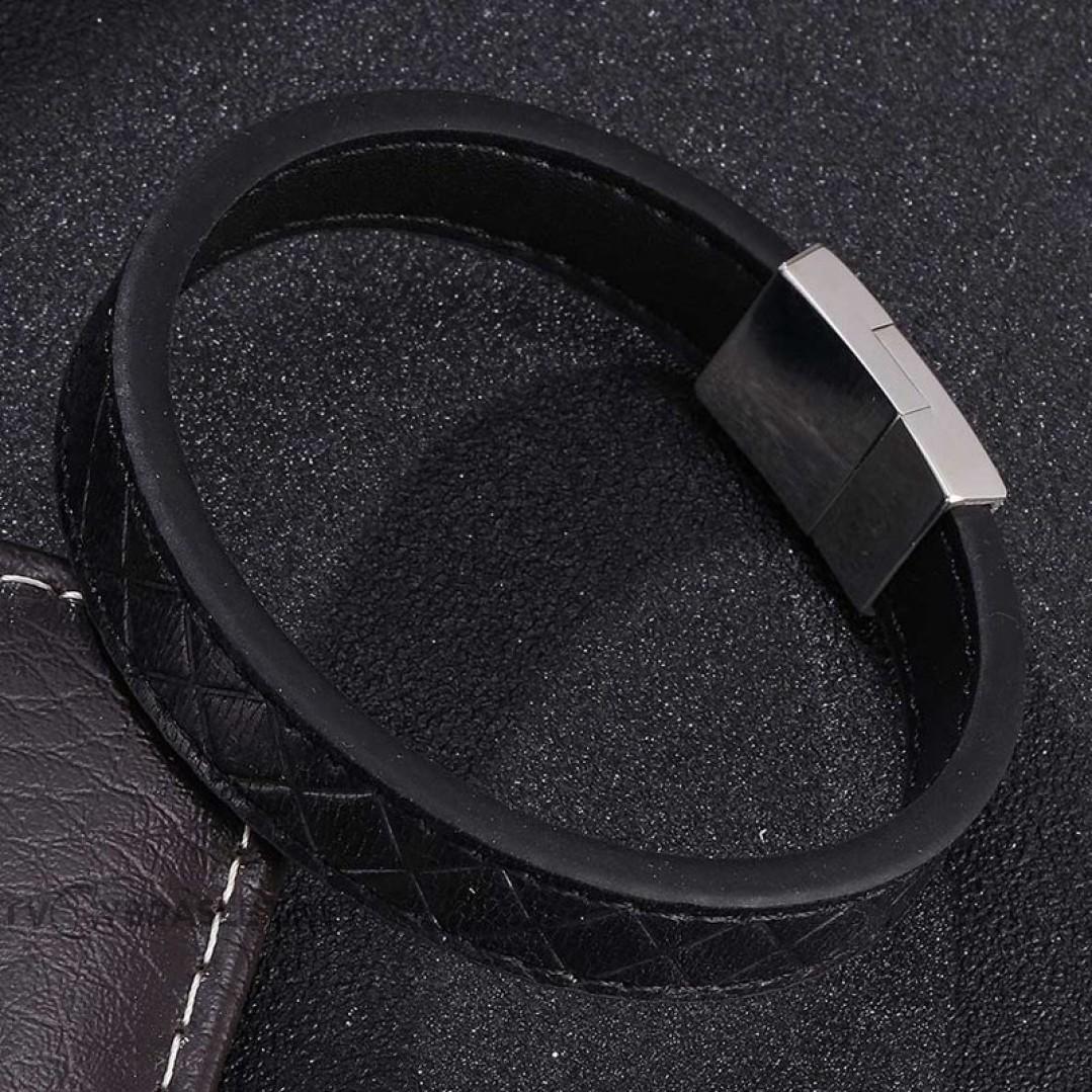 Браслет кожаный черный магнитный замок Твой Браслет LTH434