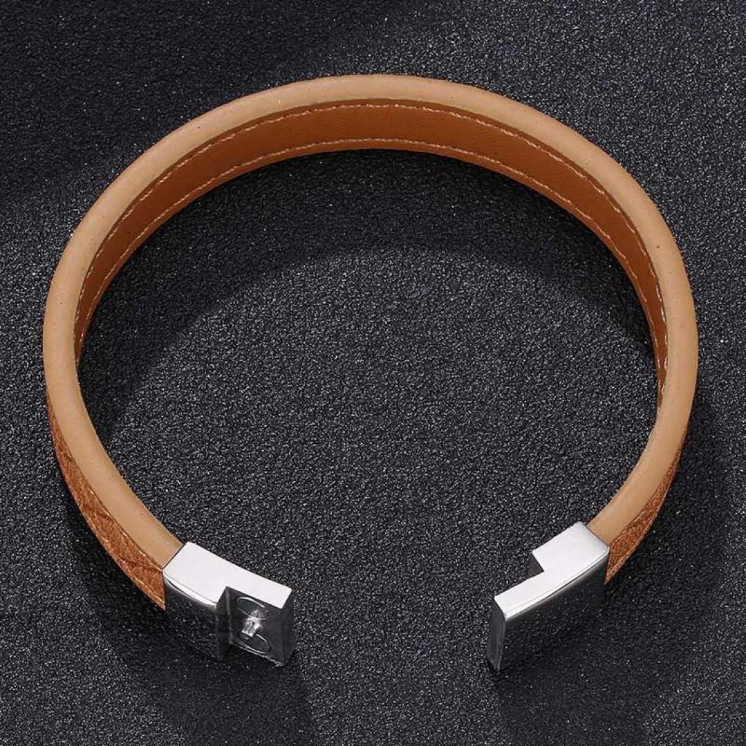 Браслет кожаный коричневый магнитный замок Твой Браслет LTH435