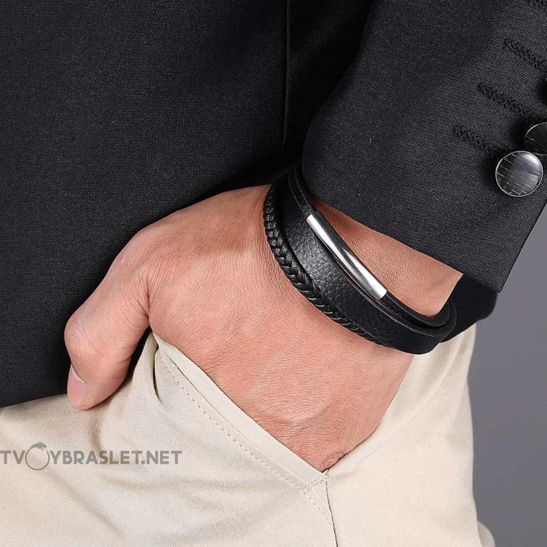 Браслет кожаный мужской многослойный черный Твой Браслет LTH436
