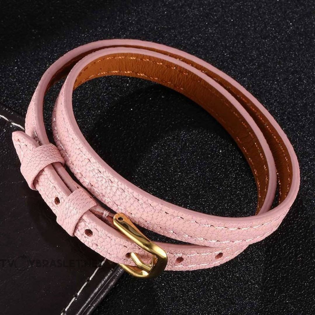 Браслет-ремень женский кожаный в два оборота розовый Gold Твой Браслет LTH438