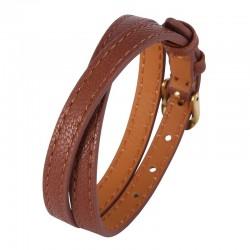 Браслет-ремень женский кожаный в два оборота коричневый Gold Твой Браслет LTH439