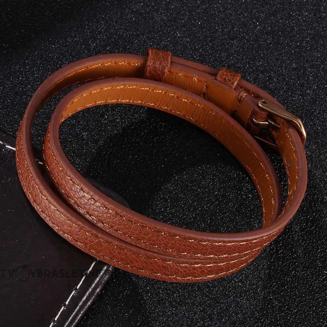 Браслет-ремень женский кожаный в два оборота коричневый Rose Gold Твой Браслет LTH440