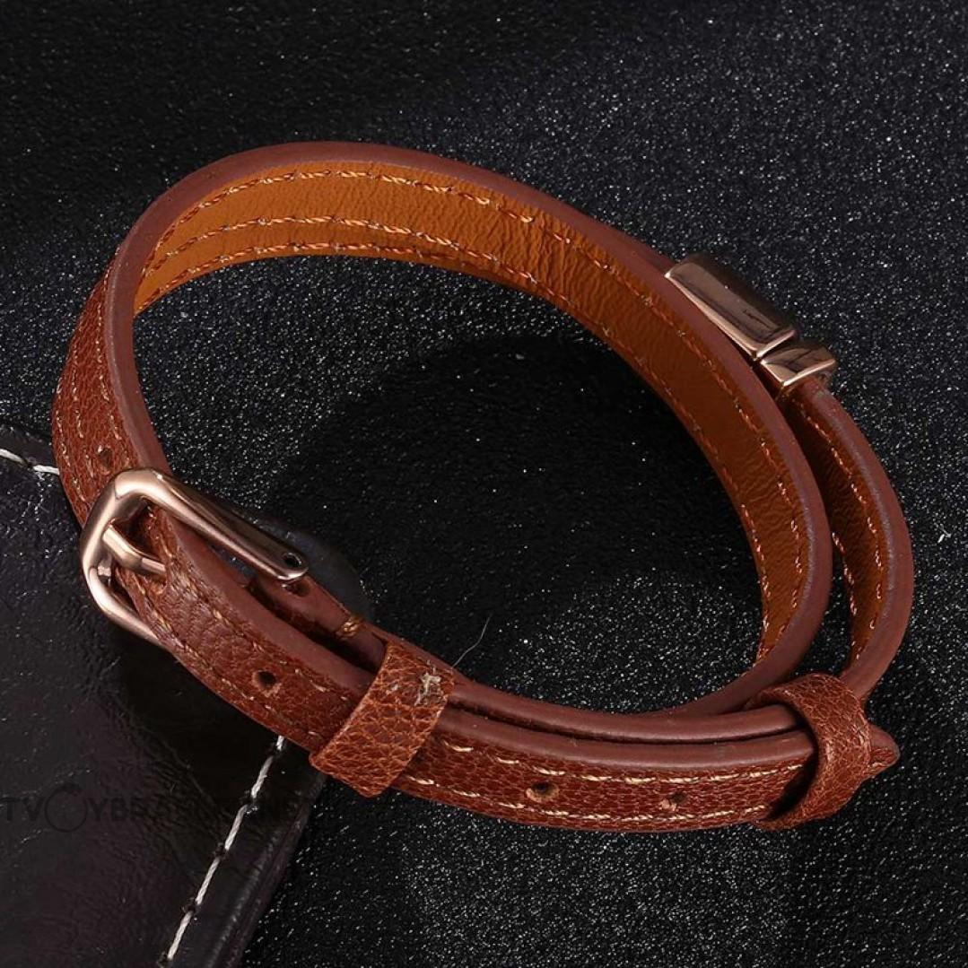 Браслет-ремень женский кожаный в два оборота коричневый Rose Gold Твой Браслет LTH441